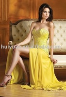 yellow evening prom dress