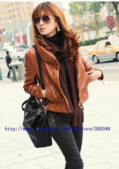 Free Shipping Women Synthetic Leather leather jacket,motorcycle punk New Korean women leather jacket coat