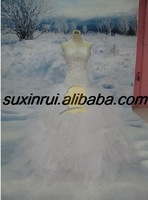 sh2075 accept  , ball gown style nice american net line by line 100% hand-made bead on dress Suzhou wedding gown
