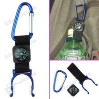 Free shipping+100pcs Blue Carabiner Water Bottle Holder Clip with Compass Camping
