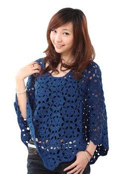 Fashion women knitwear poncho handmade sweater /bat shawl  fence  hollow