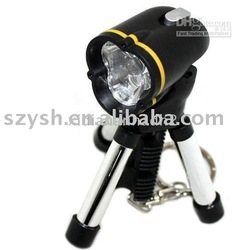 YM Freeshipping!Lowest price! Mini Tripod white LED Flashlight Keychain,camping lamp(China (Mainland))
