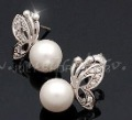 Butterfly shape 925 sterling silver plated clip on earrings , ear cuffs , simulated-pearl studs earrings for women free shipping