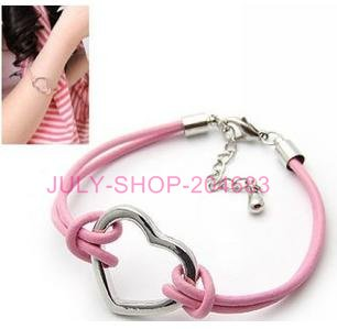 Free shipping+New arrival! Mix color leather bracelet, fashion heart charm, watch bracelets for ladies children 25pcs/LOT