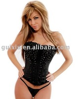 Wholesale Dobby waist training corsets and bustiers black underbust corset Rhinestones Diamanted Corset Black C8215