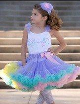 Girls skirts pettiskirt pettiskirts tutu girl's NORMAL FLUFFY pink with colorful ruffle 20pcs/lot