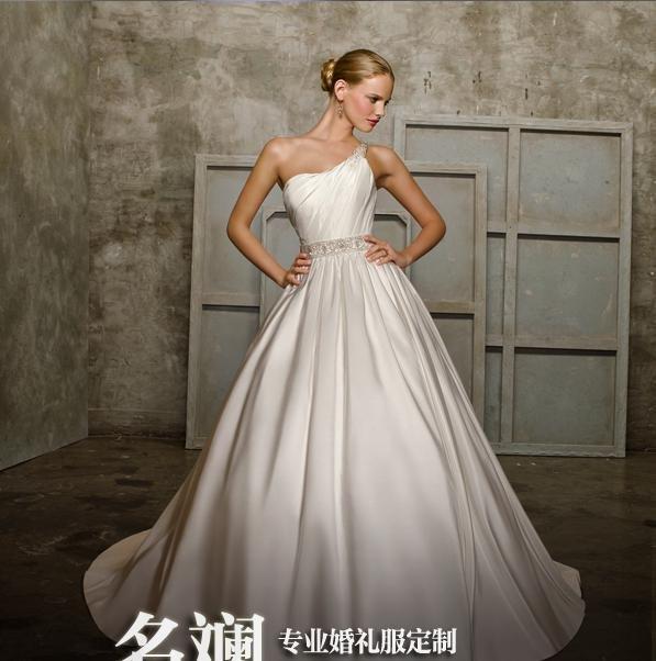 100% garantido vestido marfim de casamento, Lhui 123 Tipo de um ombro, andar de comprimento, aceitar(China (Mainland))