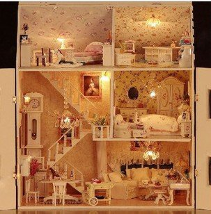 [New arrive ] DIY with light,dream house, Valentine's Day / birthday gift ideas, with big home(China (Mainland))