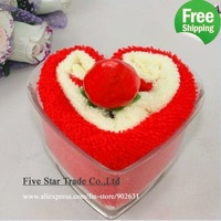 2011 New~Free Shipping/Accept Credit Card/5pcs Many Colors with cute cherry sweet heart cake towel cake
