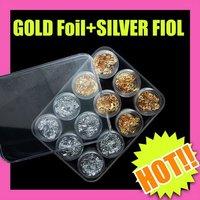 $10 off per $100 order Fast & Free Shipping 5 sets x 12 pcs gold silver foil paillette nail art DIY makeup S058