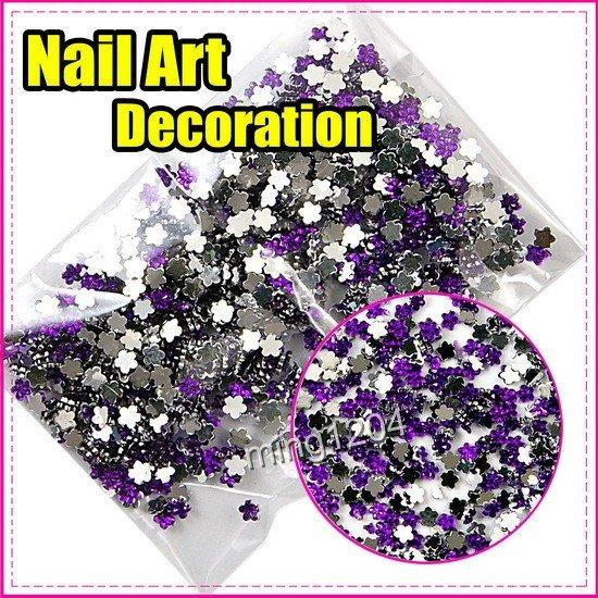 Fast & Free Shipping New 5000 pcs 5 pack Hot Purple flowers decoration wheel Nail Art gift S268(China (Mainland))