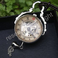 Brown Leather Chain Mechanical Wind Up Pocket Watch Crystal Ball See Through Silver Tone Case H047
