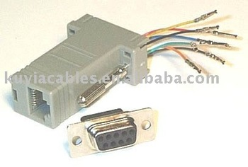 Free Shipping +Tracking number+ DB9 F to RJ45 Adapter+Gray Color+Wholesale+ lowest price