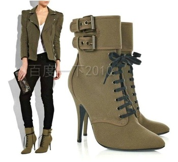 Wholesale price Casual shoe,fashion leather boots ankle boots Green GZ04