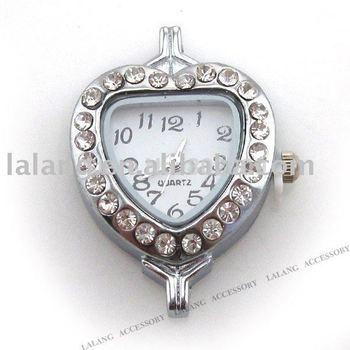 3pcs/lot Fashion Heart Shape Alloy Clear Rhinestone Watch Head Fit Charms Chains 32*22*8mm 151044