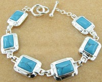 Free ship fee 925 sterling silver six piece turquoises bracelet fashion gift DM_B072