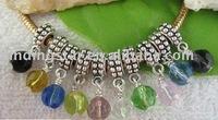 FREE SHIPPING 60PCS Mixed Glass bead charm dangle for charm bracelet M7350