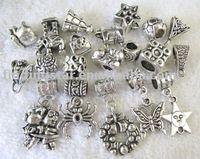FREE SHIPPING 40PCS Tibetan Silver mixed beads charms Fit Charm Bracelet M8338