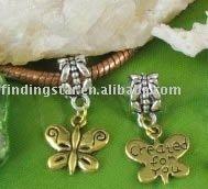 FREE SHIPPING 60PCS Tibetan Silver W/Gold Dangle w/big hole Fit Charm Bracelet M8130