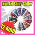 Fast &amp; Free Shipping 5x12 nail art decoration tips colorful shiny powder S121