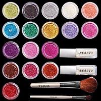 Fast & Free Shipping 17 shiny powder + 2 brush + tatoo stencils +2 glue S141