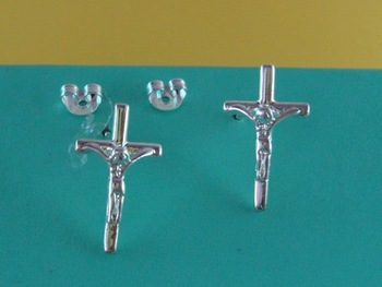 Free Shipping Wholesale 925 Silver Charm Cross Fashion Earring E217805
