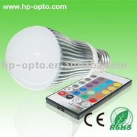 remote control RGB color  changing 5w led bulb  wholesale  free shipping