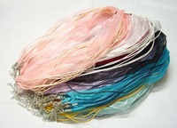Free Shipping 100pcs Mix Color Organza Voile Ribbon Necklace Cord For DIY Craft Jewelry 18'' W3*