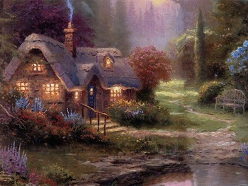 Thomas Kinkade Art Oil Painting:River shore scenery On Canvas on canvas  100% Free shipping