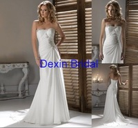 Custom Made  A-line Chiffon Sleeveless  Free Shipping Wedding Dress&Wedding Gown
