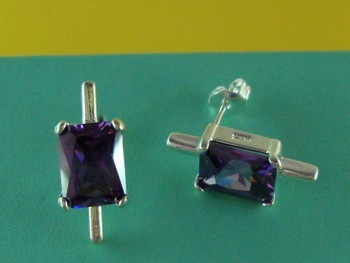 Free Shipping Wholesale 925 Silver Luxury Lady Fashion Charm Purple Crystal  Stick Earrings E225408