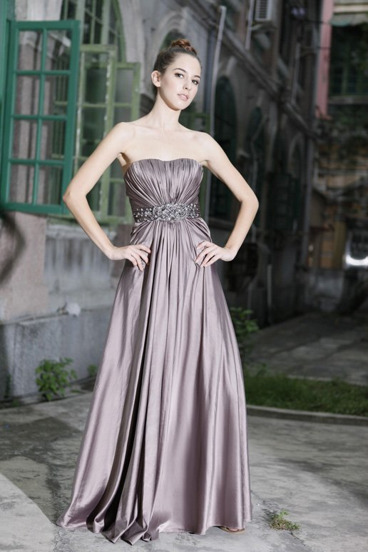 Hot sell! One-shoulder Wedding Dress , sation gown evening dress, party dress, bridesmaid dress(China (Mainland))