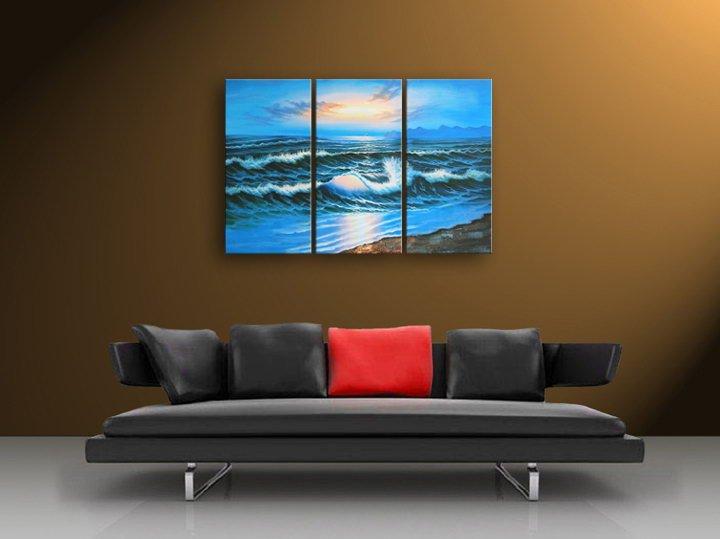 """60"""" framed original por do sol sobre o mar arte seascape pintura a óleo sobre tela 100% frete grátis(China (Mainland))"""