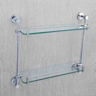 Dupla Camada rack de vidro , aço inoxidável chuveiro Rack, KE1012,1 pedaço / lote , frete grátis(China (Mainland))