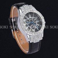 New Womens Luxury Crystal Analog Quartz Womens Ladies Girls Wrist Black Leather Band Watch W040