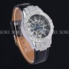 New Womens Luxury Crystal Analog Quartz Womens Ladies Girls Wrist Black Leather Band Watch W040