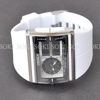 New OHSEN White Analog Digital Quartz Day Date Womens Wrist Rubber Band Sport Watch W016W