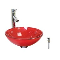 Victory Round Red Tempered glass Vessel Sink and Chrome Faucet, Water Drain