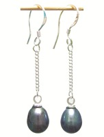 Free Shipping 10Pair/Lot Fashion Pearl Earrings & Silver Hook For Gift Craft Jewelry Black C1
