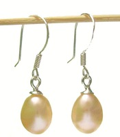 Free Shipping 10Pair/Lot Fashion Pearl Earrings & Silver Hook For Gift Craft Jewelry Pink C0