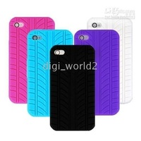 free shipping - tyre silicone case cover skin for iPhone 4g 4th ios 4 hd 100pcs/lot
