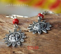 Ethnic Tribal Jewelry Red Chip Stone + Tibetan Silver Sunflower Pendant Earring Ear Dangler 50pairs Mixed Lot Free Shipping
