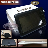 7 inch ebook free shipping with 8GB Memory / Leather Case 7 inch E-book reader Free shipping