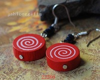 Ethnic Handmade Red Candy Shape Pendant Earring Ear Dangler Fashion Jewelry 50pairs Mixed Color Free Shipping