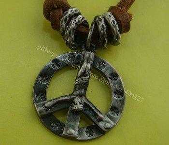 Wholesale Retail Alloy peace men's women's unisex Leather Pendant Necklace Jewelry shop necklaces Cross pendants P06