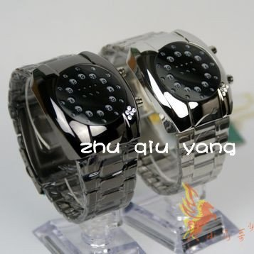 Free Shipping-Cool Unique Diamond Stainless Steel TokyoFlash Intercrew LED Watch/4PCS(Hong Kong)