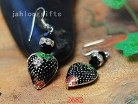 Fashion Jewelry Handpainted Enamel Strawberry Pendat Earring Wedding Gifts 40pairs Mixed Lot Free Shipping