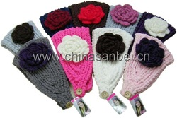 king size 3D flower Handmade Crochet Knit Flower Headwrap Headband(China (Mainland))