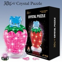 Wholesale New 3D Crystal Strawberry puzzle DIY Puzzle Toy Education toy Flashing Toy 10sets/lot fast delivery