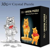Wholesale New 3D Crystal Bear puzzle DIY Puzzle Toy Education toy Flashing Toy 10sets/lot fast delivery